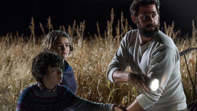 Marcus Abbott (Noah Jupe), Regan Abbott (Millicent Simmonds) and Lee Abbott (John Krasinski) must live in silence to survive. Picture: Paramount Pictures