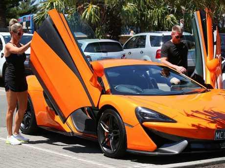 Candice Warner and Husband David Warner enjoy a morning ride in a McLaren on Valentine's Day. Picture: Mega Agency