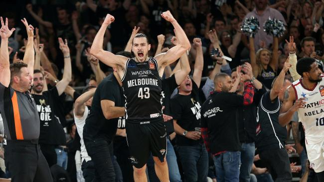 Melbourne United star Chris Goulding celebrates after his team scored a three pointer on Saturday night.