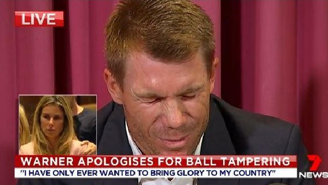 David Warner broke down as he finally broke his silence about the cheating scandal that has rocked Australian cricket. Picture: 7 News.