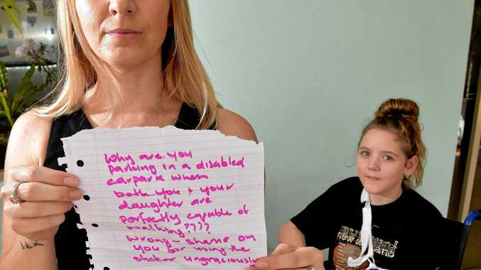 Shanell Beriman and her daughter Hailee,13, received an unpleasant note on their car after parking in a disabled car park.
