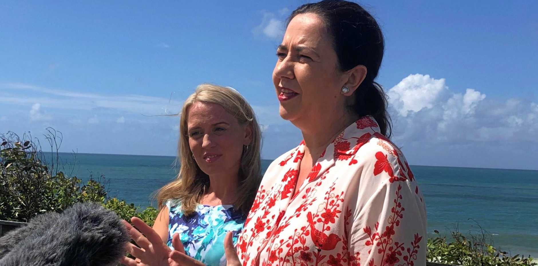 This afternoon at Alexandra Headland Premier Annastacia Palaszczuk announced the launch of Beautiful One Day, Perfect The Next campaign aimed to boost tourism across the state through a series of television advertisements. Pictured with Tourism Industry Development minister Kate Jones.