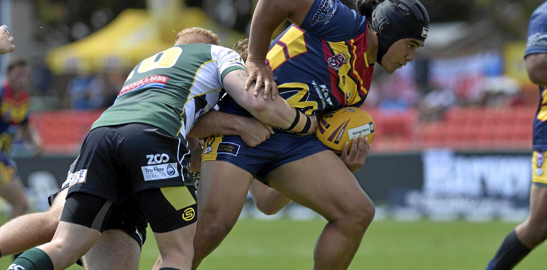 COMEBACK FALLS SHORT: Western Mustangs centre Tuia Eliu crossed the line as his side mounted a charge against the Norths Devils at Bishop Park on Saturday.