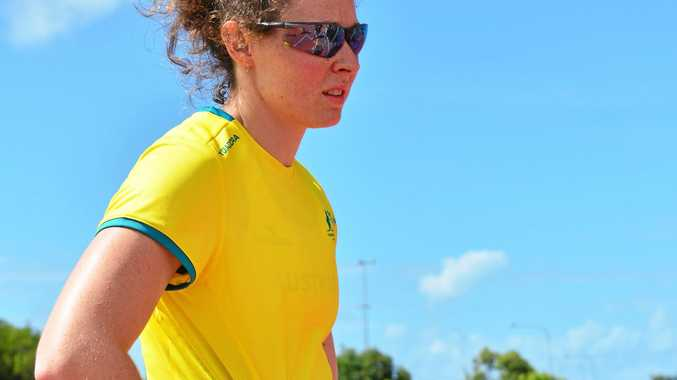 PREPARING: Pole vaulter Lisa Campbell practices at the University of the Sunshine Coast.