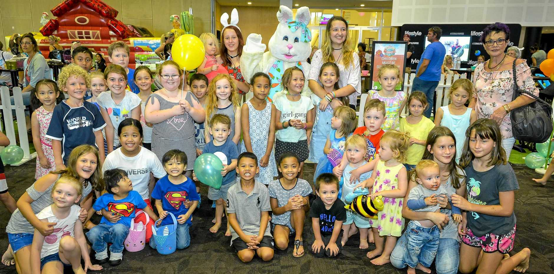 The Easter Bunny meets children at the Lifestyle Church Easter Egg hunt held at GECC on Easter Sunday, as part of Gladstone Harbour Festival.