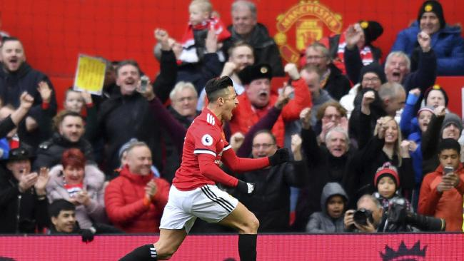 Manchester United's Alexis Sanchez celebrates scoring