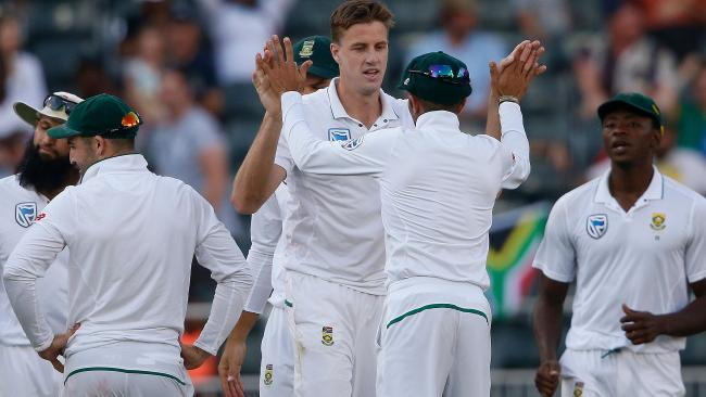 Morne Morkel celebrates a wicket with his South African teammates.