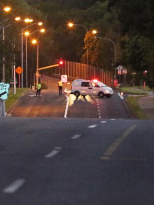 Police on scene of a hit and run on Brisbane's southside. Picture: AAP/ Ric Frearson