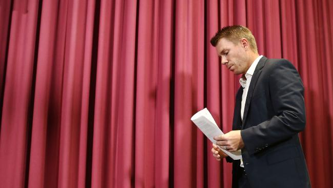 David Warner prepares to address the media. (Photo by Brendon Thorne/Getty Images)