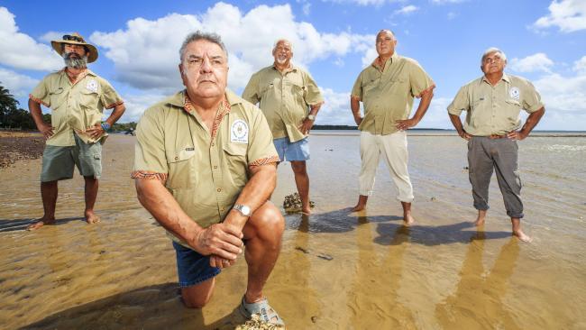 Butchulla Mens Business Aboriginal Association president Glen Miller with members Darren Blake, Eddie Jackson, Rod MacDonald and Mark Singho. Picture: Lachie Millard