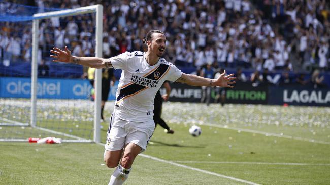 Los Angeles Galaxy's Zlatan Ibrahimovic, of Sweden, celebrates