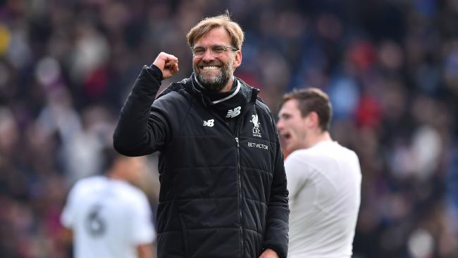 Liverpool's German manager Jurgen Klopp reacts at the final whistle