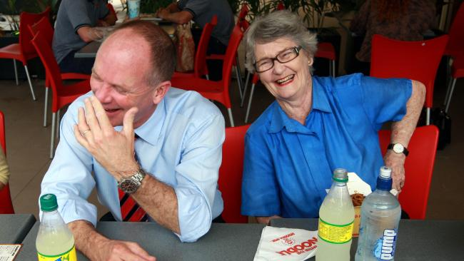 Jocelyn Newman with her son, former Queensland premier Campbell Newman.