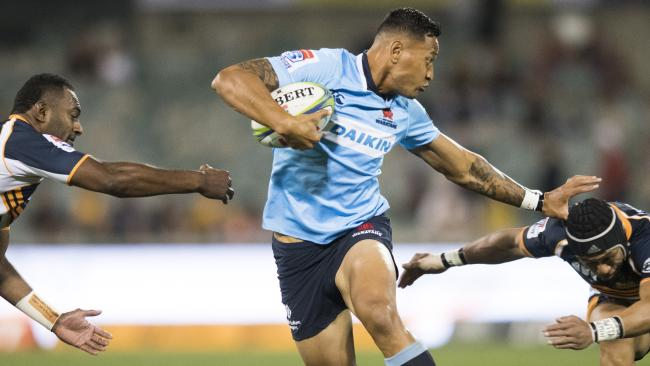 Israel Folau suffered a hamstring injury in the Waratahs' win over the Brumbies.
