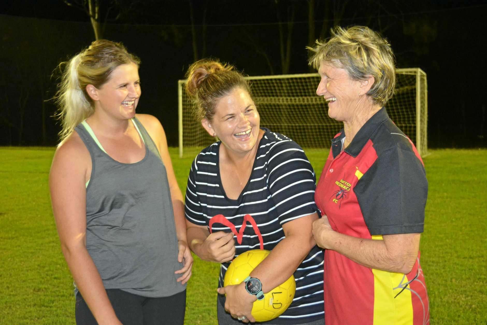 ALL SMILES: Gatton Redbacks players Tahlia Sudhaus, Carley Logan and Dawn Jackwitz.