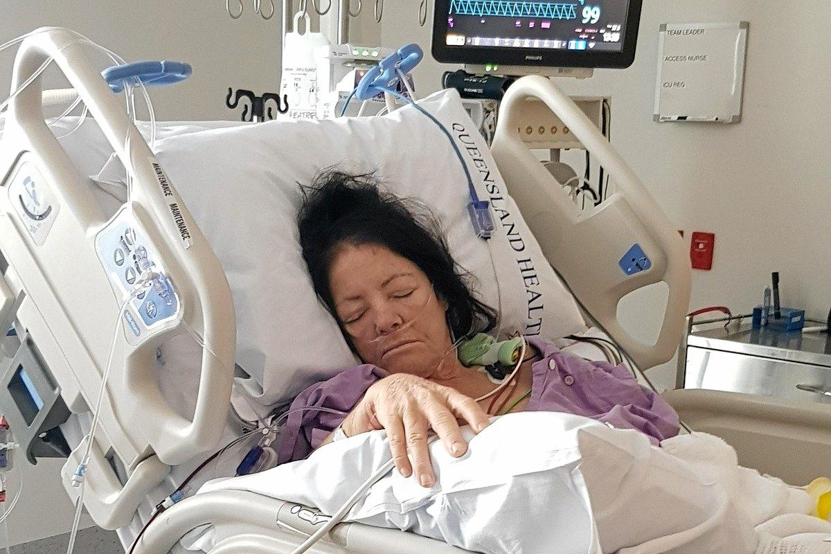 TERRIBLE PAIN: Irene (Jill) Cryer in ICU after major surgery.