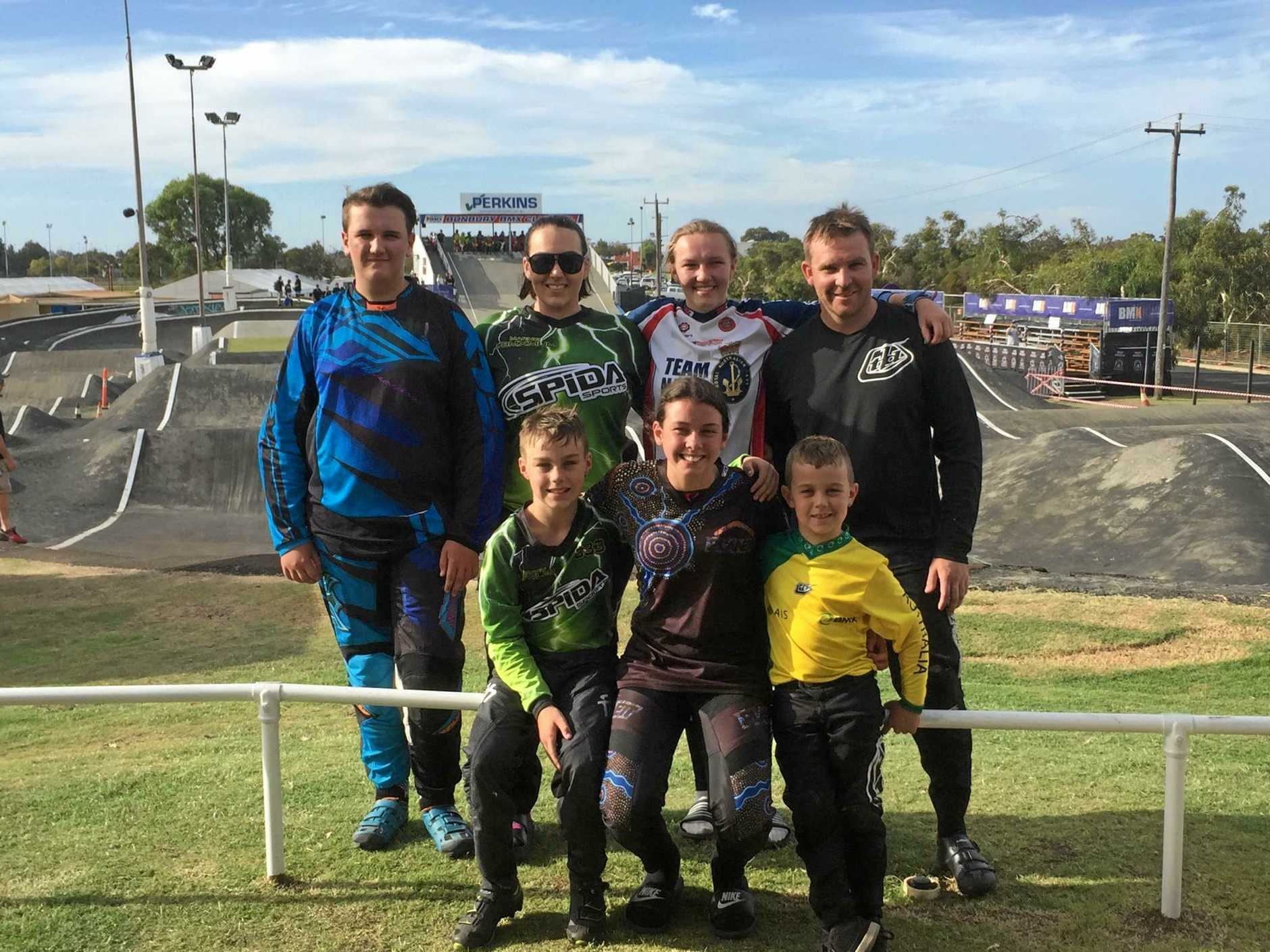TOP TIER: Clarence Valley BMX Club members Brendon Brown, Marnie Brighton, Stacey Brown, Glenn Swain, Harley Fowler, Tahlia Marsh and Darcy Fowler at the Australian BMX National Championships.