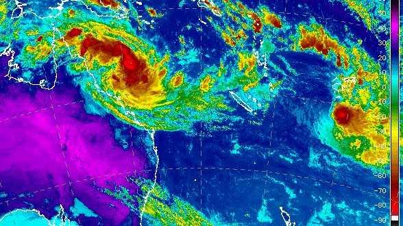Tropical Cyclone Iris pictured on Monday, April 2. (Satellite image from Japan Meteorological Agency satellite Himawari 8 via Bureau of Meteorology.)