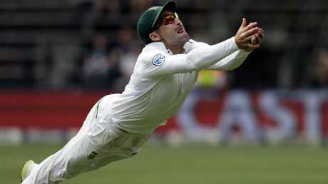 Dean Elgar spectacularly ends the Aussie innings.