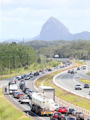 Traffic on the Bruce Highway near the Glass House Mountains as people return to Brisbane after the Easter long weekend. Picture: AAP/ Ric Frearson