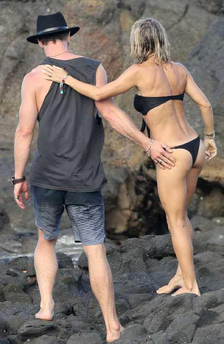 Elsa Pataky with husband Chris Hemsworth in Byron Bay. Picture: KHAPGG / MEGA