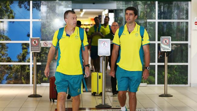 Members of the Australian men's basketball team arrive at Cairns Airport to prepare for their three pool games in the Far North. Picture: Brendan Radke