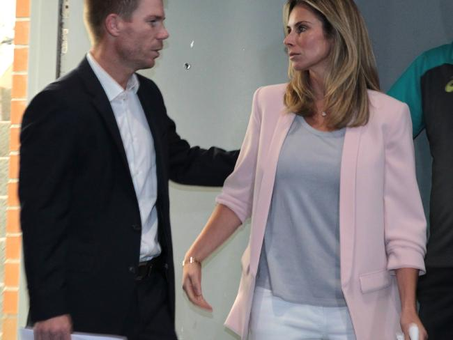 Former vice-captain David Warner was supported by wife Candice when he faced the nation from Sydney. Picture: AAP Image/Ben Rushton