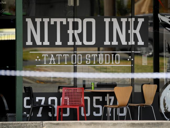 Nitro Ink was sealed off after a 36-year-old man was shot in February. Picture: Joe Castro/AAP