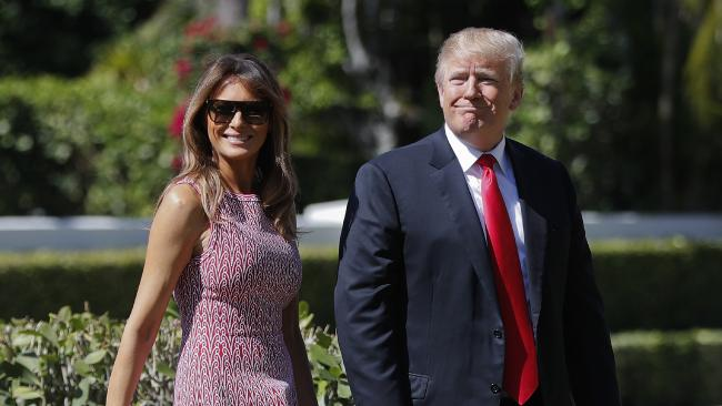 President Donald Trump and first lady Melania Trump as they arrive for Easter services in Palm Beach. Picture: AP/Pablo Martinez Monsivais