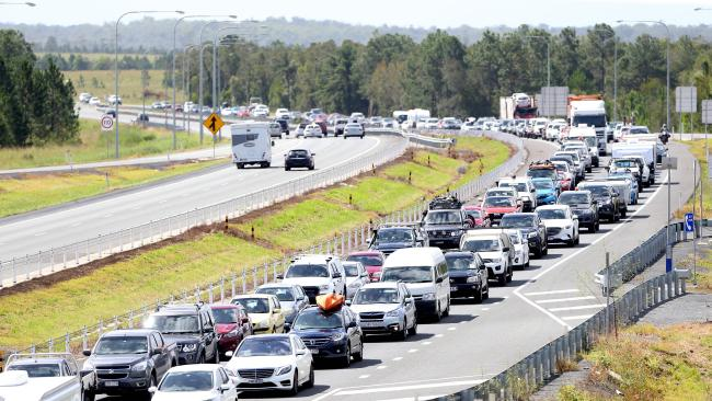 Traffic on the Bruce Highway coming back to Brisbane after the Easter long weekend at Glass House Mountain. Picture: AAP/Ric Frearson