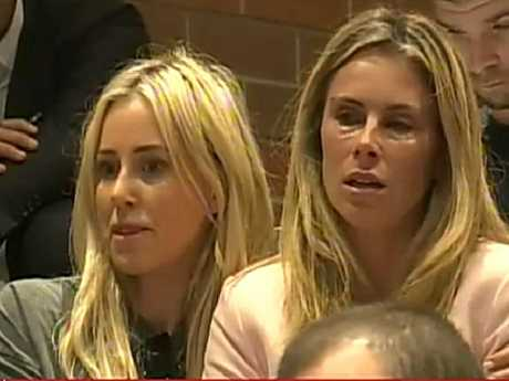 Candice Warner is comforted by Roxy Jacenko at David Warner's press conference.