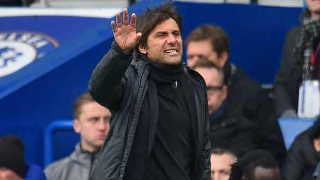 Chelsea's Italian head coach Antonio Conte gestures on the touchline