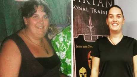 Ashleigh, before and after. What a difference six years can make. Picture: Supplied