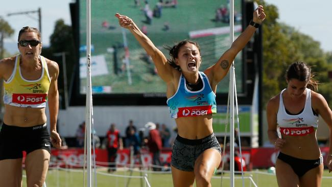 Elizabeth Forsyth erupts after realising she'd won the big race. Picture: Getty Images