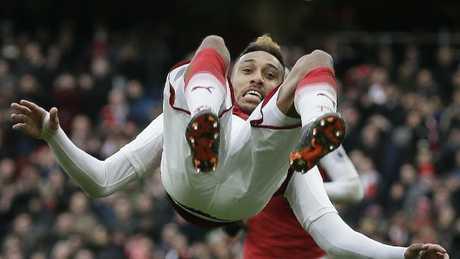 Arsenal's Pierre-Emerick Aubameyang celebrates after scoring a penalty