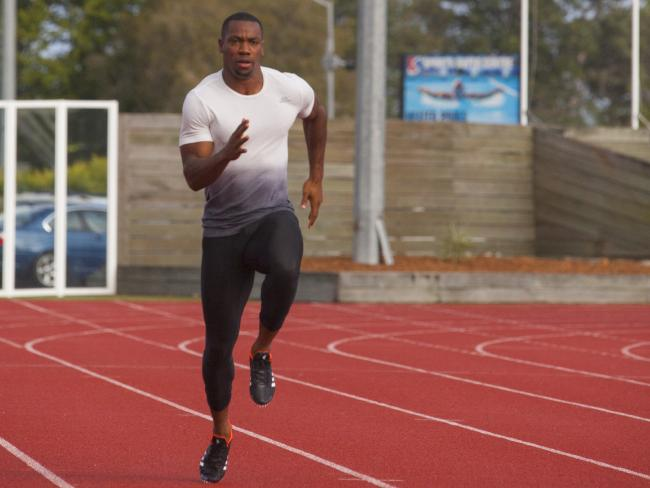Jamaican track star Yohan Blake training for the Games.