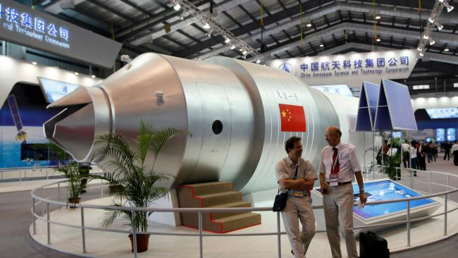 A model of China's Tiangong-1 space station. Picture: AP/Kin Cheung