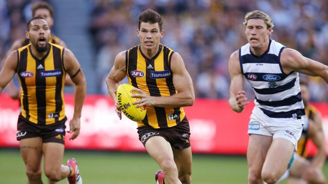 Hawks midfielder Jaeger O'Meara is getting better each week. Picture: Michael Klein