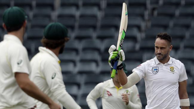 South Africa's captain Faf du Plessis celebrates his century.