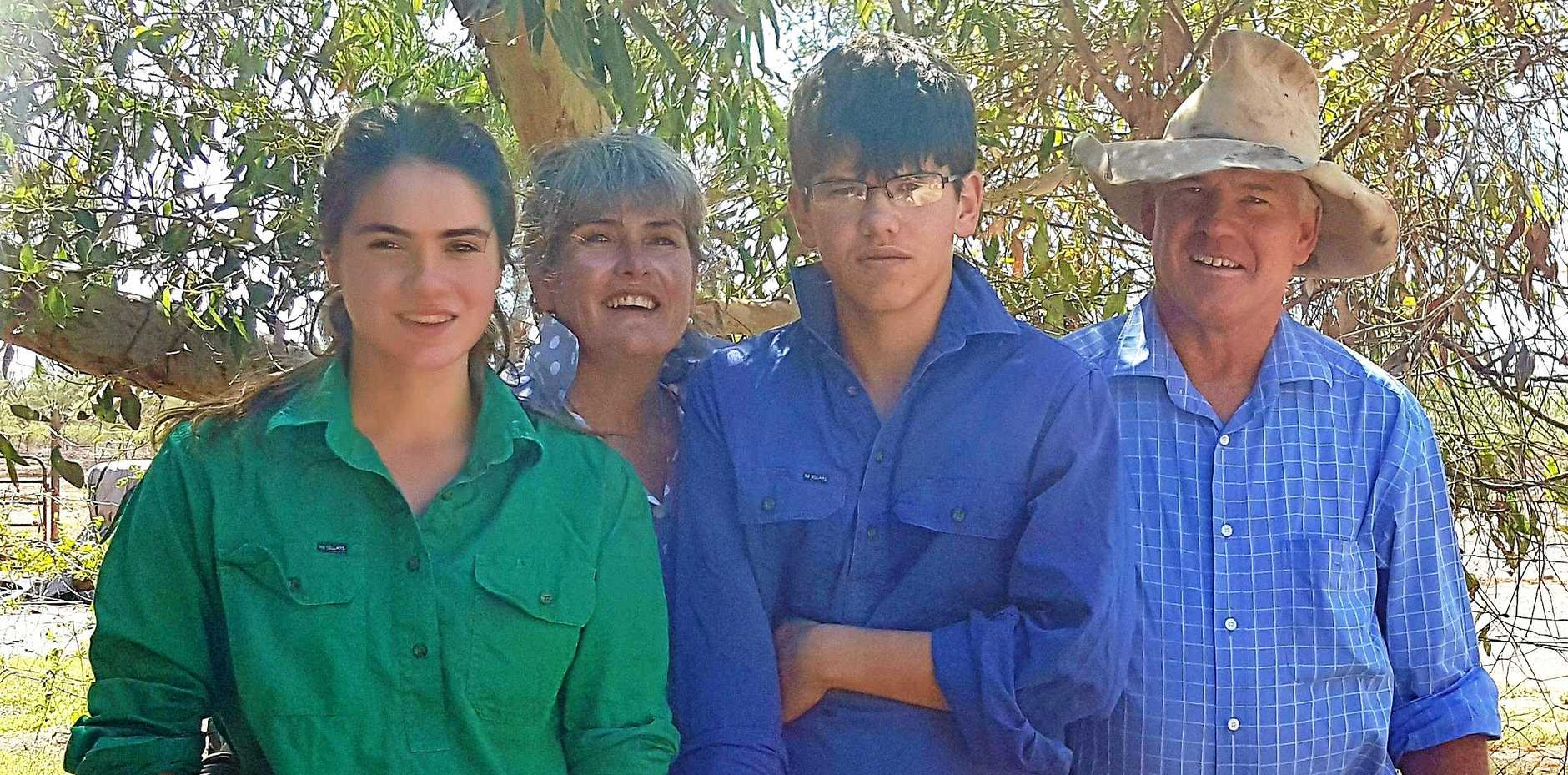 LOVE OF THE LAND: Geoff and Jacque Blacket of Marlee Downs Station near Mitchell in Queensland, with their two children Savannah and Jayden.