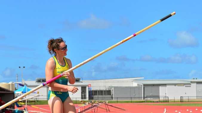 TRAINING: Pole vaulter Lisa Campbell at the University of the Sunshine Coast.