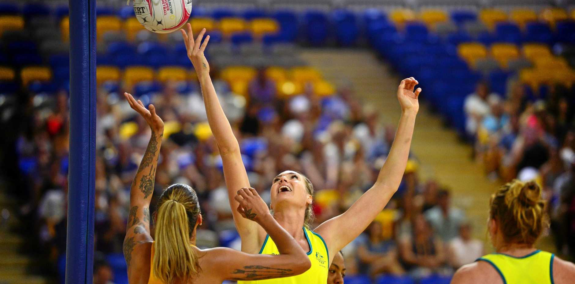 AUSSIE CAPTAIN: Caitlin Bassett in action for the Diamonds against the Sunshine Coast Lightning in a practice game at the University of the Sunshine Coast.