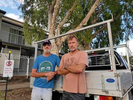 Four Malaleuca trees on Beach Parade in Maroochydore are under treat of being chopped down to replace Telecom wiring, locals Alan Cowan and Daryl O'Neill are furious.