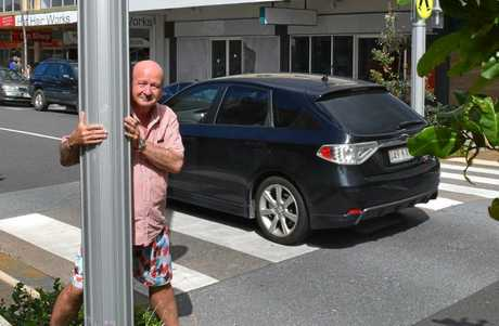 Caloundra resident Paul Seto is concerned vision from cars to pedestrians in Bulcock St is blocked by new lightpoles and plants.