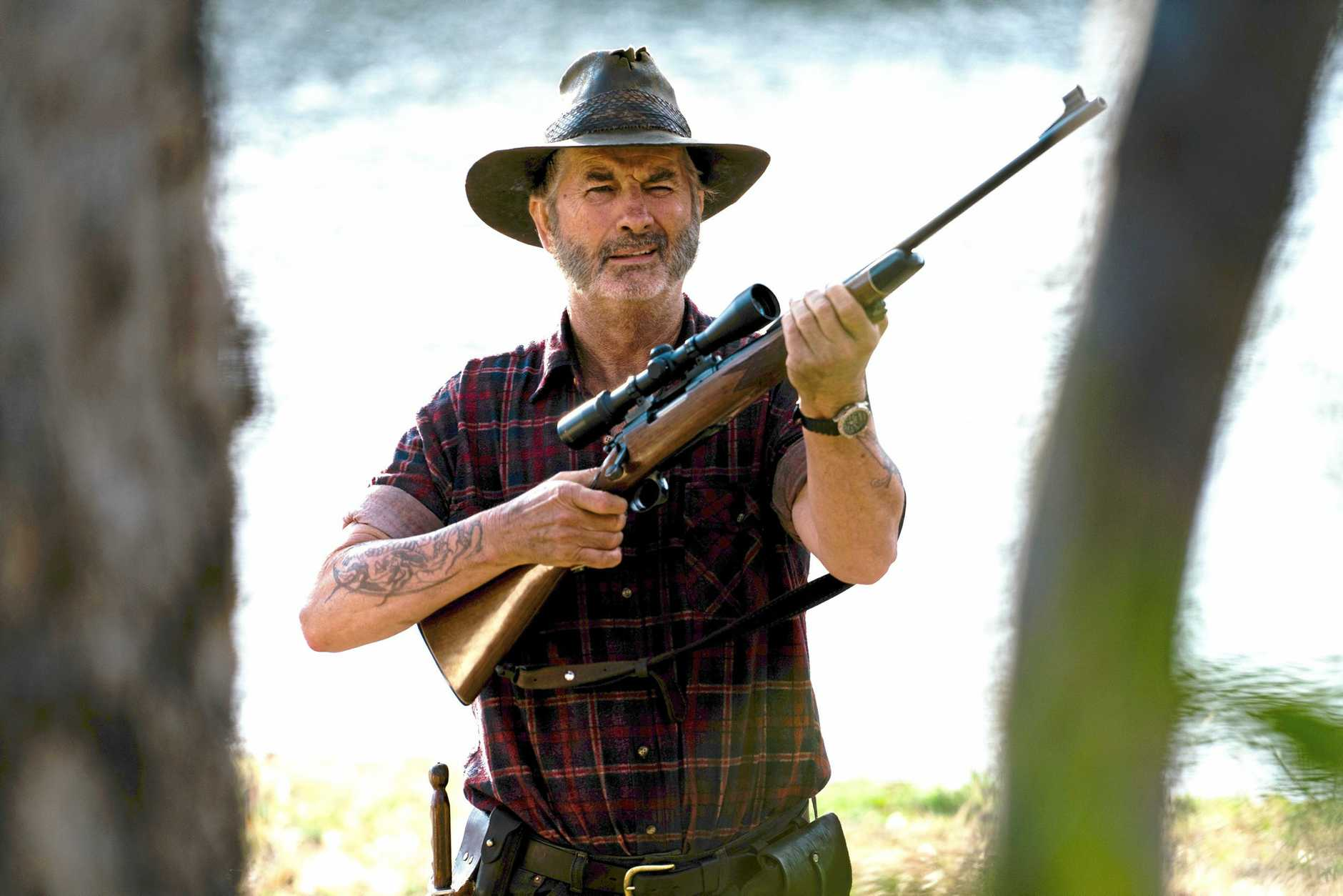 John Jarratt as Mick Taylor in a scene from the TV series Wolf Creek. Supplied by Stan.