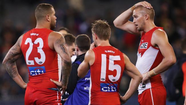 Sydney forwards Lance Franklin, Kieren Jack and Sam Reid. Picture: Phil Hillyard