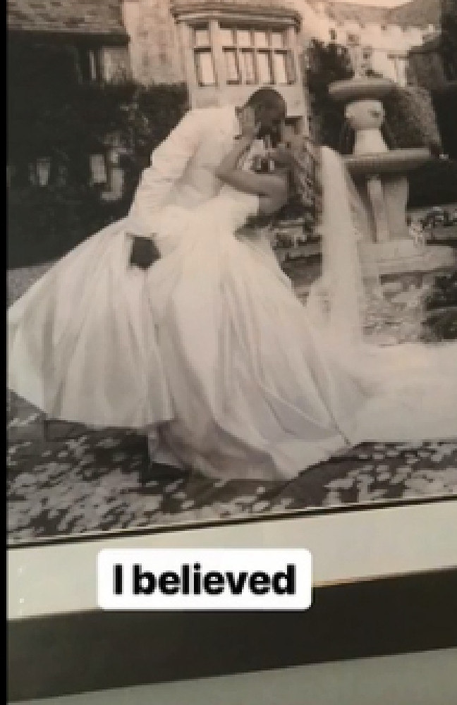She shared a flashback photo of their wedding day. Picture: Instagram