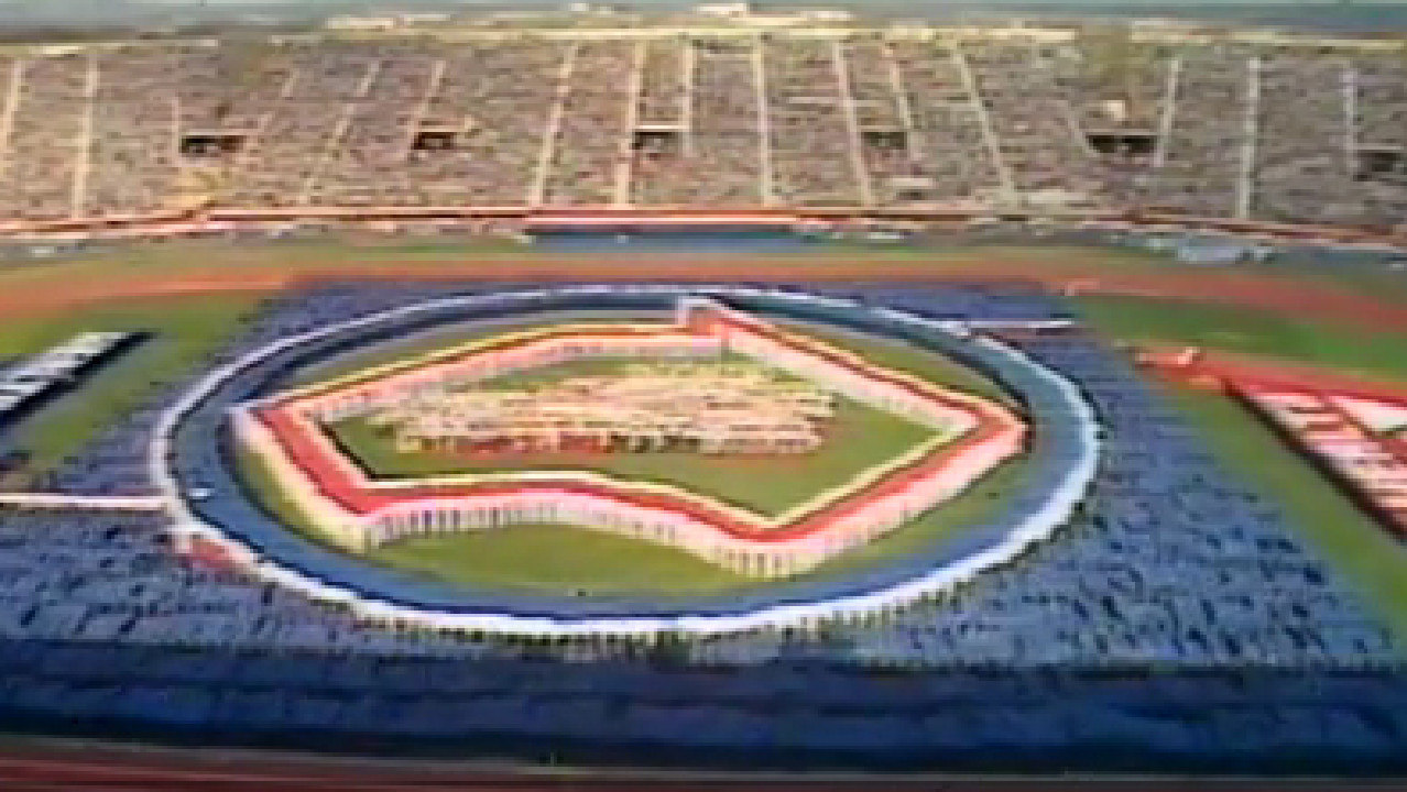 The map of Australia at the 1982 Commonwealth Games opening ceremony, which omitted Tasmania.