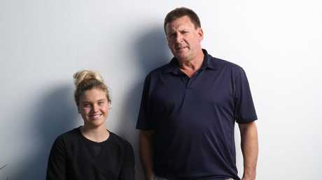 Georgia Bohl and her father, Michael, are part of the Australian swim team at the Gold Coast. Picture: Picture: David Kelly