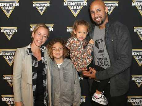 Kendra Wilkinson, son Hank, daughter Alijah, and Hank Baskett in February this year.